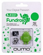 Карта памяти  Micro SecureDigital 16Gb  QUMO (QM16GCR-MSD10-FD-GRN) CL10 + USB картридер FUNDROID Green